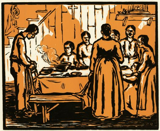 Print showing a family receiving the grace.